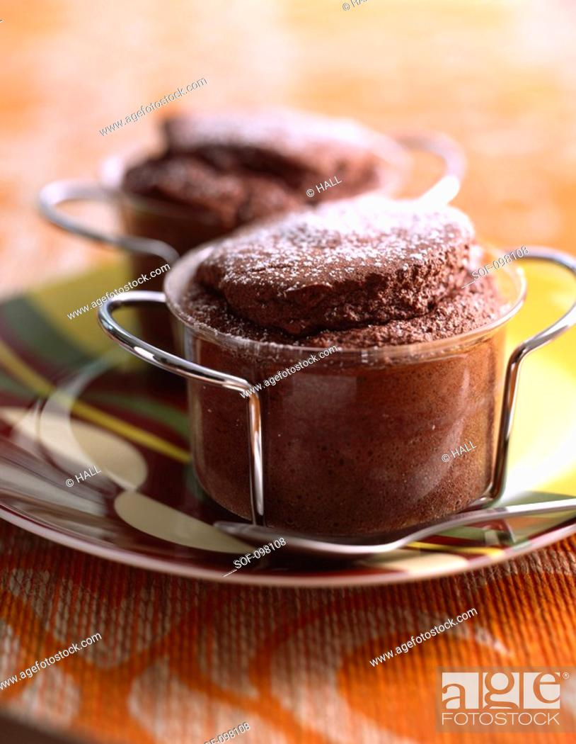 Stock Photo: Bitter chocolate soufflée with icing sugar.