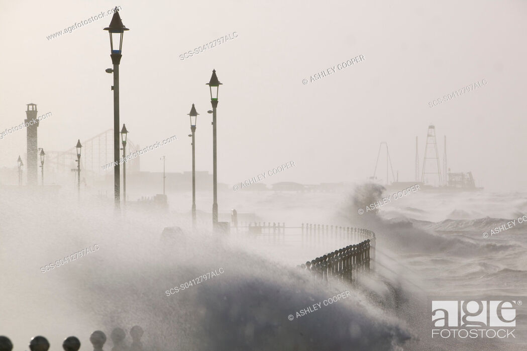 Stock Photo: Blackpool being battered by storms on the 18th January 2007 that killed 13 people across the UK in the hurricane force winds.
