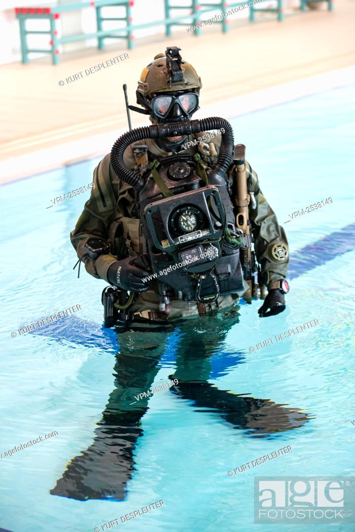 Stock Photo: Illustration shows a special force soldier pictured at the military diving school at the Zeebrugge naval base, Friday 04 September 2020.