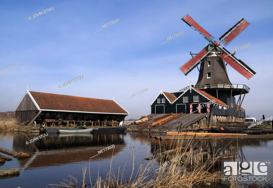 Stock Photo: Sawing mill de Rat in IJlst in the Dutch province Friesland.