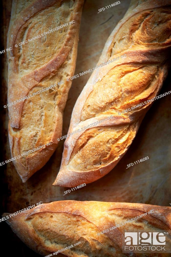 Stock Photo: Three baguettes.