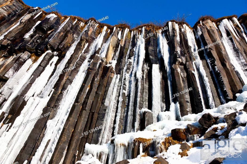 Stock Photo: Svartifoss waterfall, Southern Iceland, Iceland, Europe.