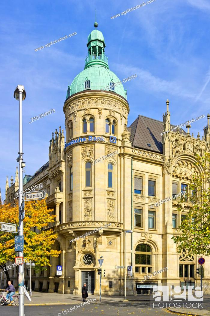 Stock Photo: Historic building of the Hannoversche Bank, nowadays domicile of the Deutsche Bank, at the Georgsplatz Square in Hannover, Germany.