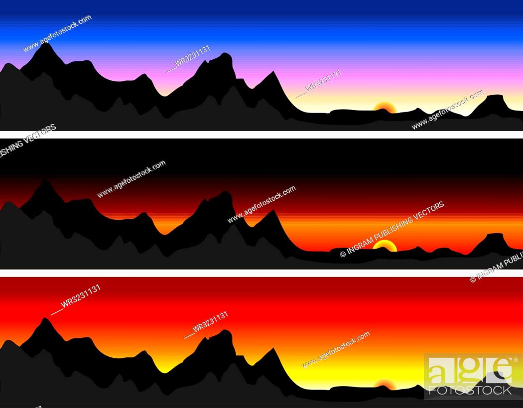 Stock Vector: Illustration of a mountain range with different sky variations.