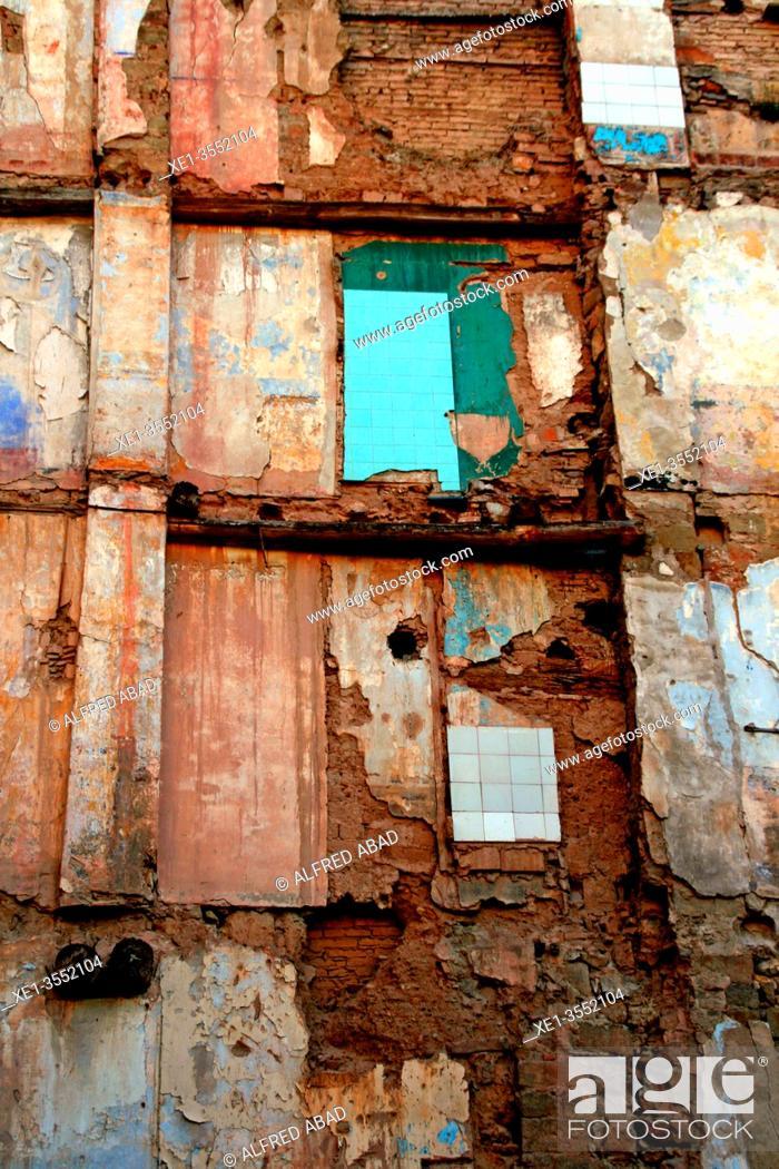 Stock Photo: house wall in demolition, Manresa, Catalonia, Spain.