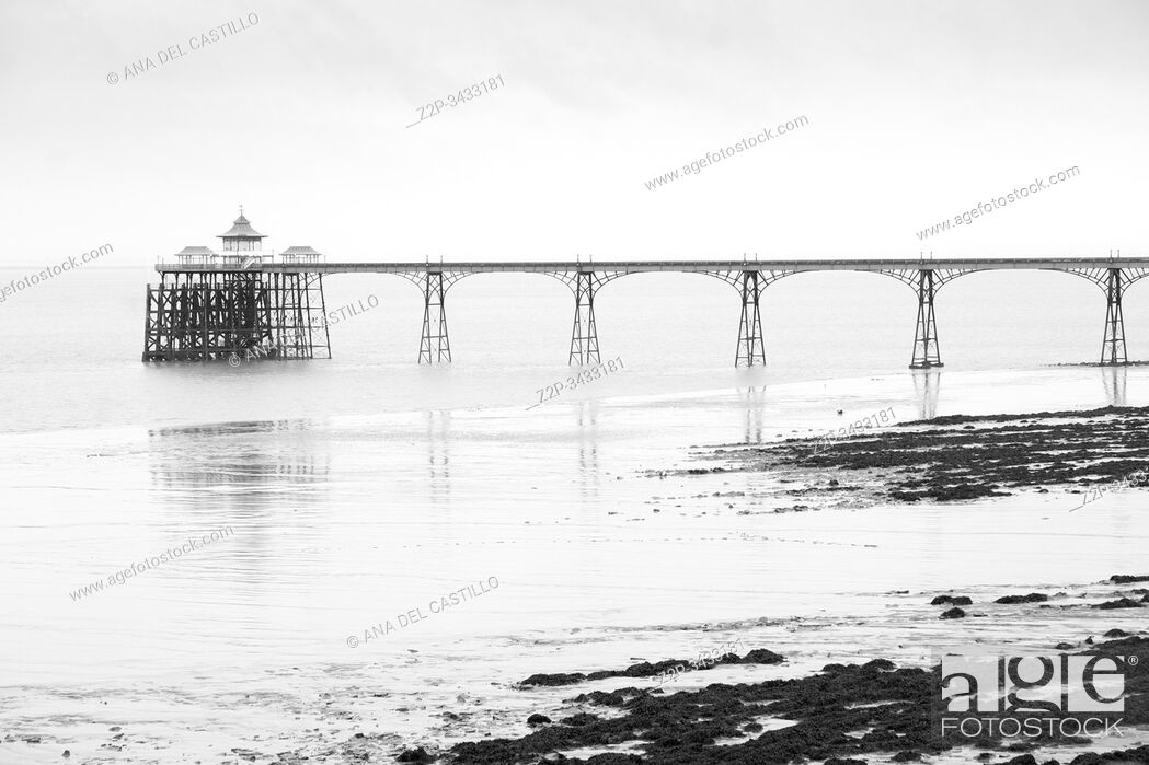 Stock Photo: Recently restored iron and wood pier at Clevedon, Somerset, UK.