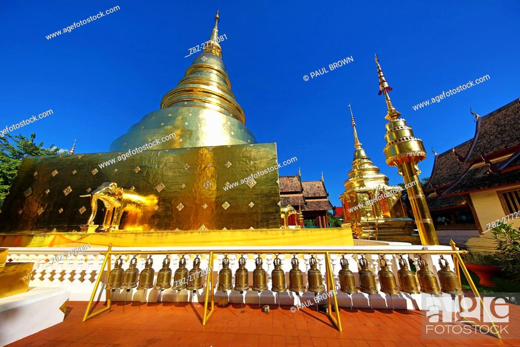 Stock Photo: Gold chedi at Wat Phra Singh Temple in Chiang Mai, Thailand.