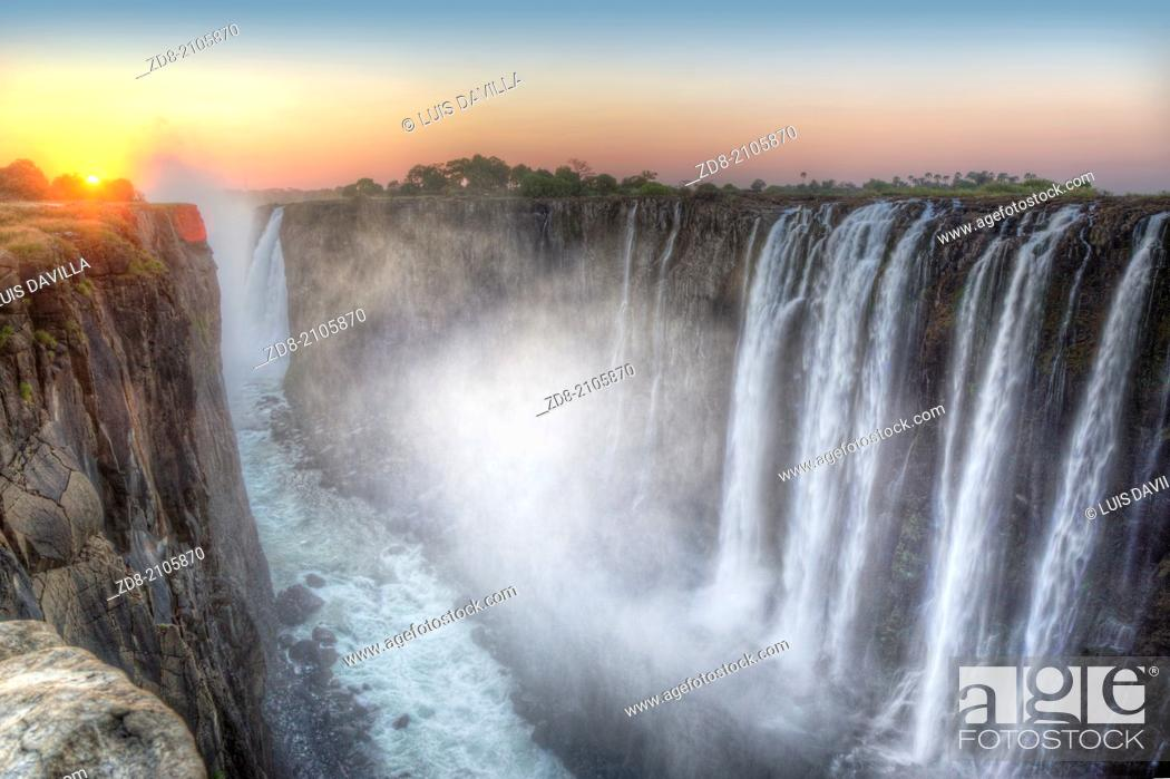 Stock Photo: victoria falls in zambia side.