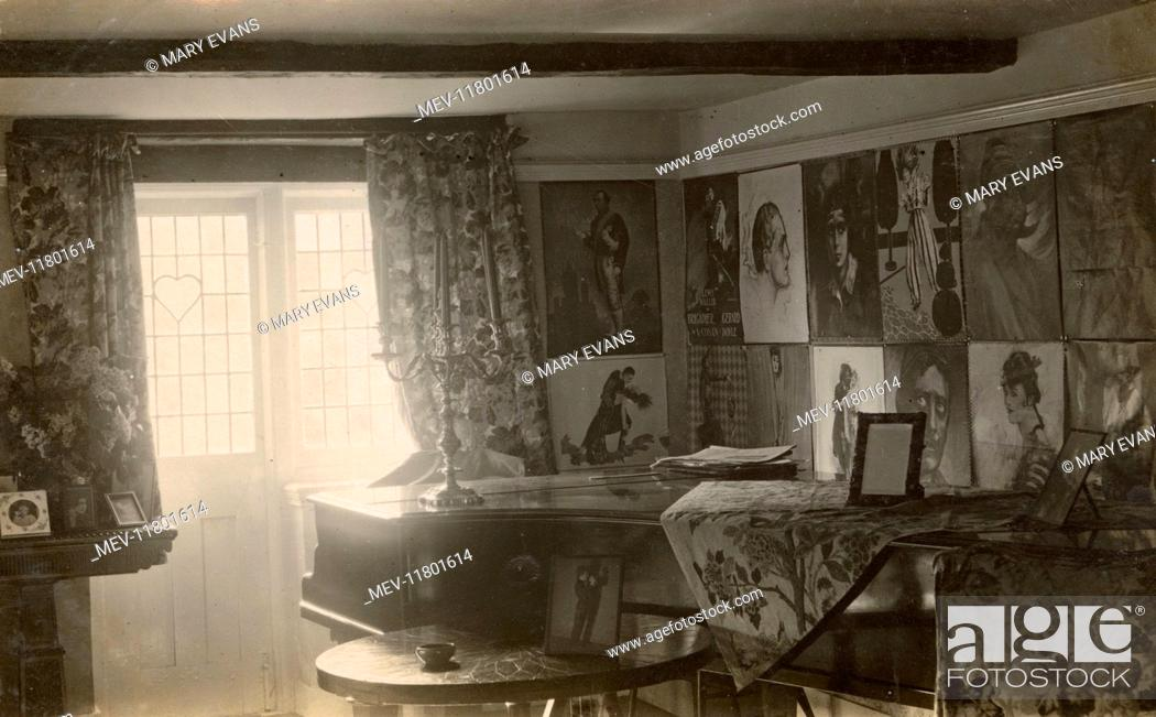 Stock Photo Room With Grand Piano And Posters Including Lewis Waller In Brigar Gerard