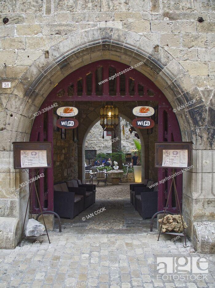Stock Photo: entrance to La Bonne Franquette Restaurant, Saint-Antonin-Noble-Val, Tarn-et-Garonne department, Occitanie, France.