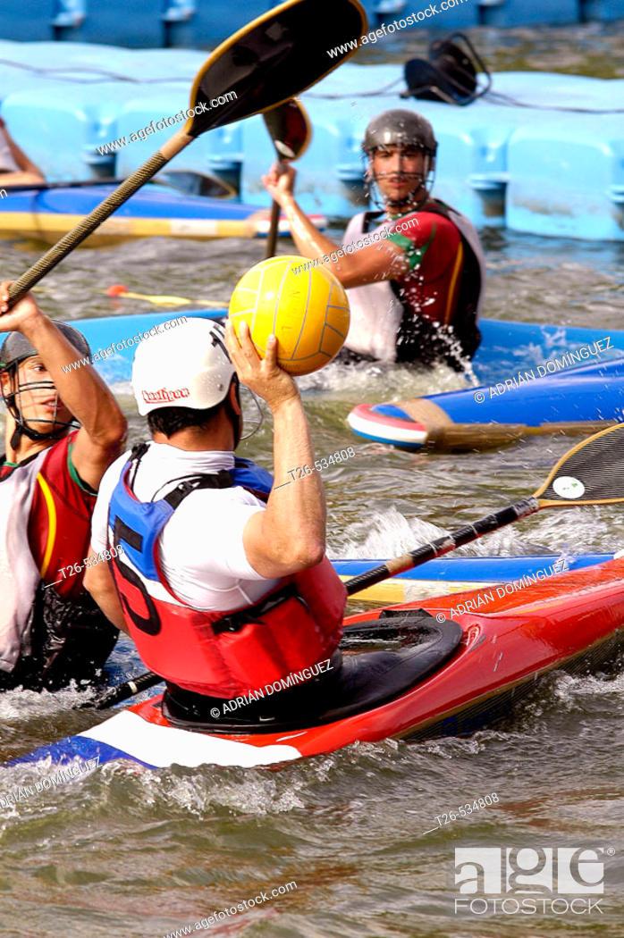 Stock Photo: Canoe polo. Madrid, Spain.
