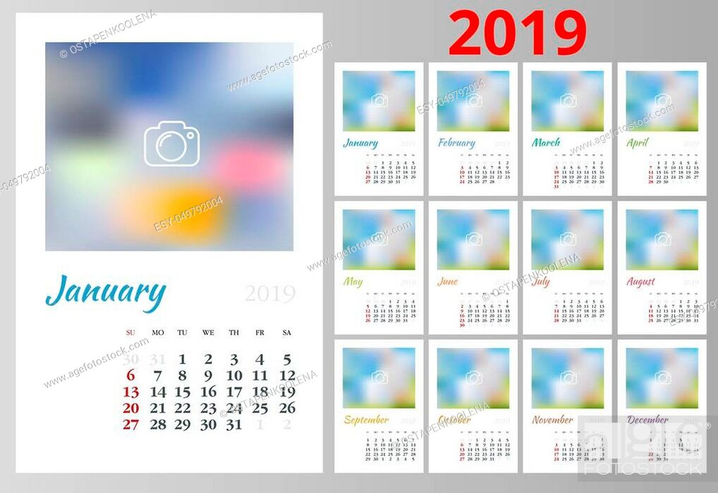 Stock Vector: Calendar Planner for 2019 Year. Vector Stationery Design Print Template with Place for Photo, Your Logo and Text. Portrait Orientation.