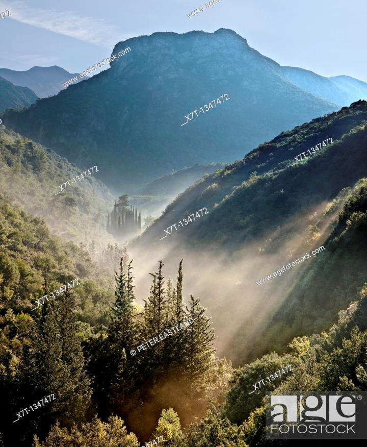 Stock Photo: Early morning mist in the Koskaraka Gorge, in the foothills of the Taygetus mountains, Outer Mani, Peloponnese, Greece.