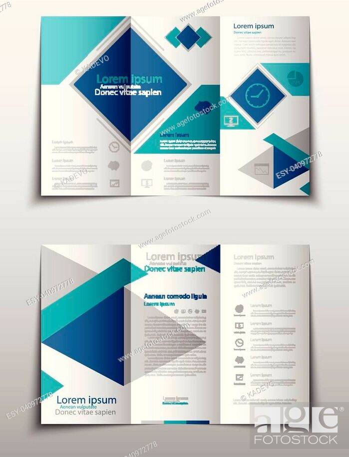 Stock Vector: Blue fold set technology annual report brochure flyer design template vector, Leaflet cover presentation abstract geometric background, layout in A4 size.