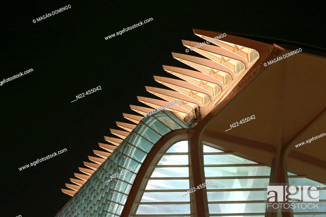 Stock Photo: Príncipe Felipe museum of sciences, City of Arts and Sciences, by S. Calatrava. Valencia. Comunidad Valenciana, Spain.