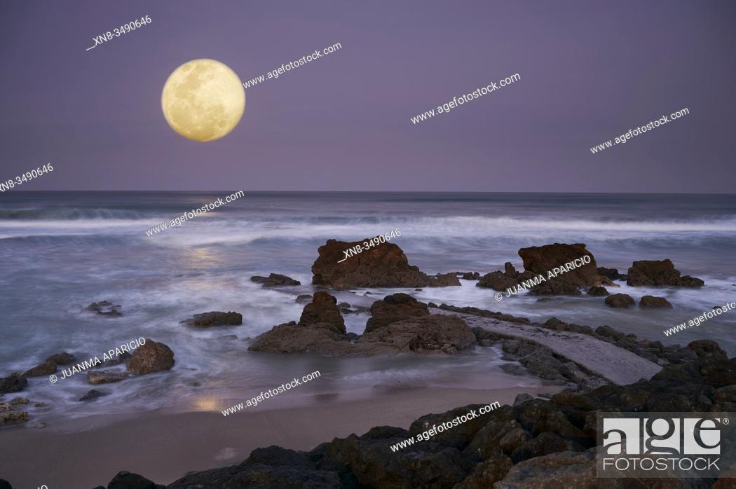 Stock Photo: Coastline, Biarritz, Biarritz, Pyrenees Atlantiques, Aquitaine, France.