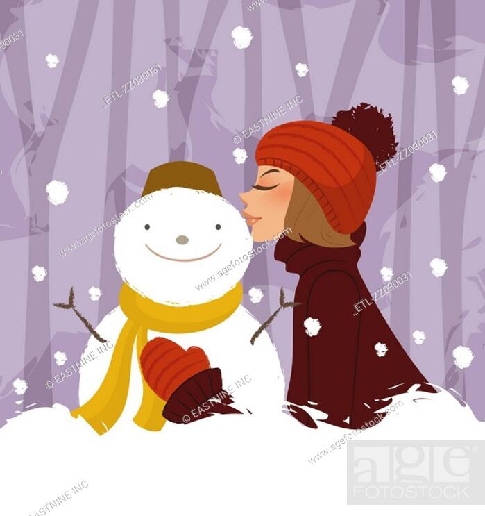 Stock Photo: Side profile of a woman kissing a snowman.