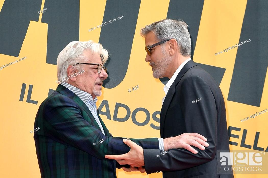 Photo de stock: Giancarlo Giannini, George Clooney during 'Catch-22' TV show photocall, Rome, Italy - 13 May 2019.