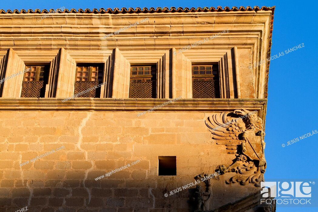 Stock Photo: Detail of Saint Carlos Palace, in Main Square of Trujillo  Cáceres  Extremadura  Spain.