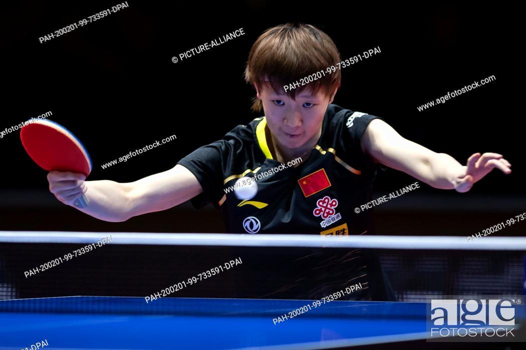 Stock Photo: 01 February 2020, Saxony-Anhalt, Magdeburg: Table tennis: German Open, women, singles, quarter finals, Wang (China) - Sun (China).
