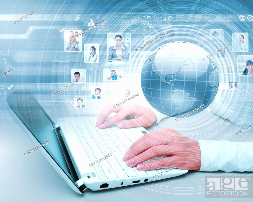 Stock Photo: Symbol of social network with people images.