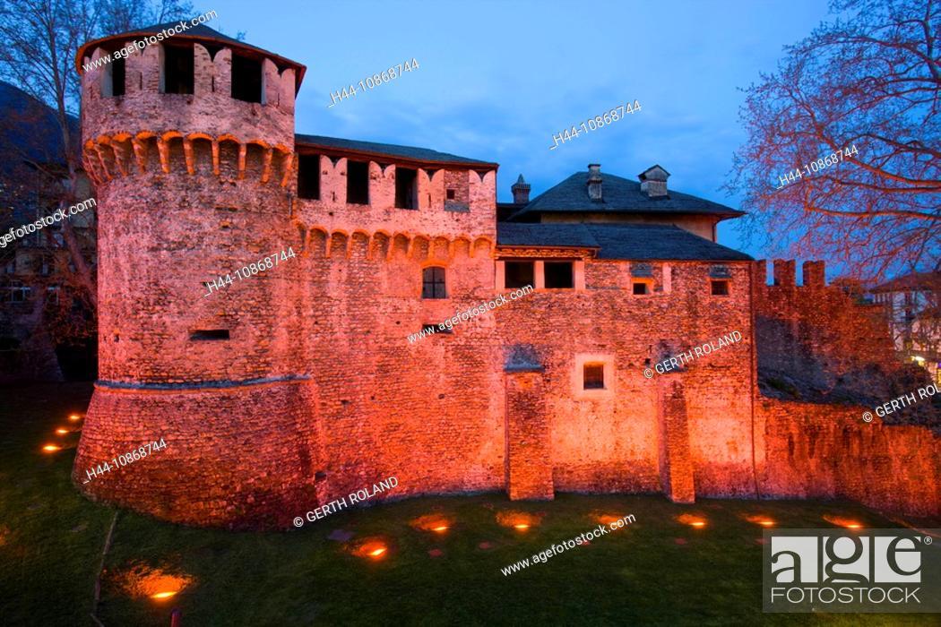 Stock Photo: 10868744, Locarno, Switzerland, canton, Ticino, castle, Castello Visconteo, lighting, illumination, dusk, twilight, spring.