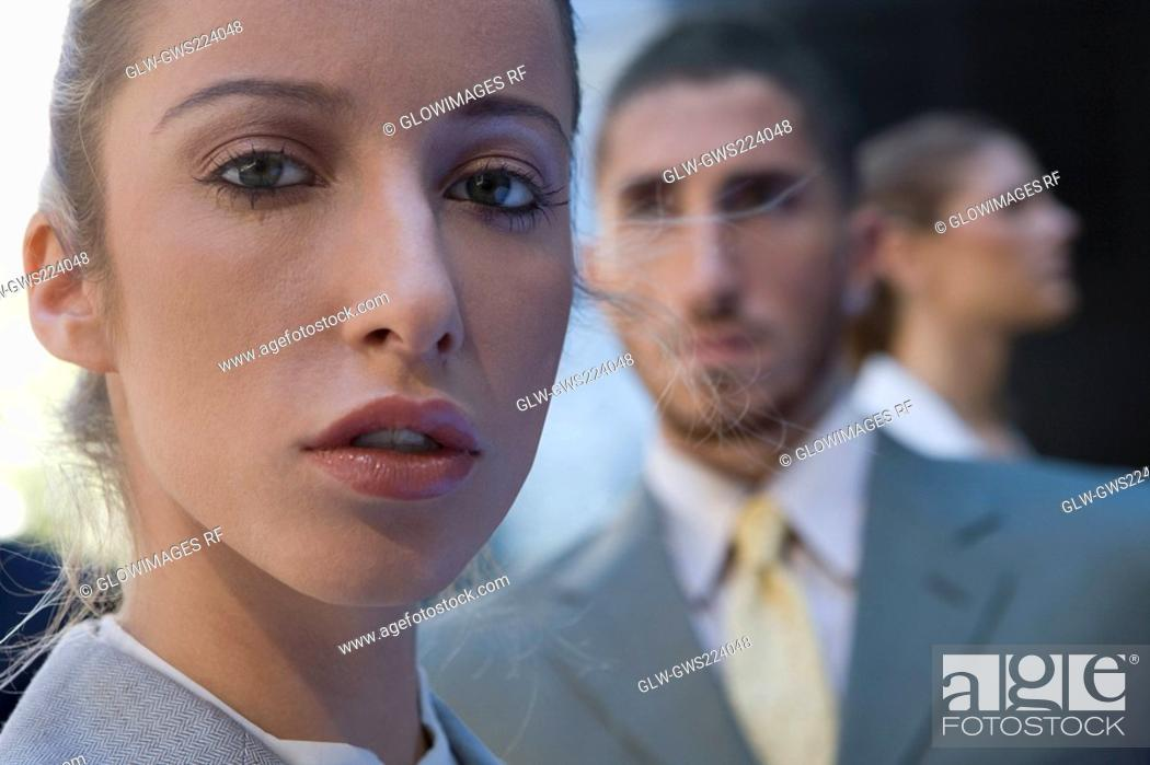 Stock Photo: Close-up of a businesswoman looking serious.