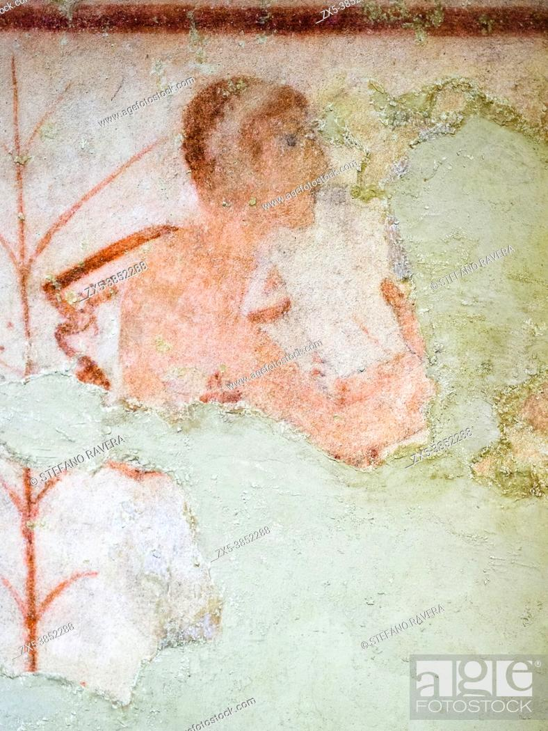 Stock Photo: Fresco painted wall detail in Tomba delle Olimpiadi (tomb of the olympics) 6th century BC - Tarquinia National Archaeological Museum, Italy.