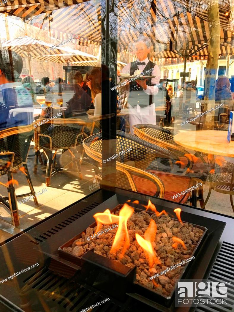Stock Photo: Heater in a terrace. Madrid, Spain.