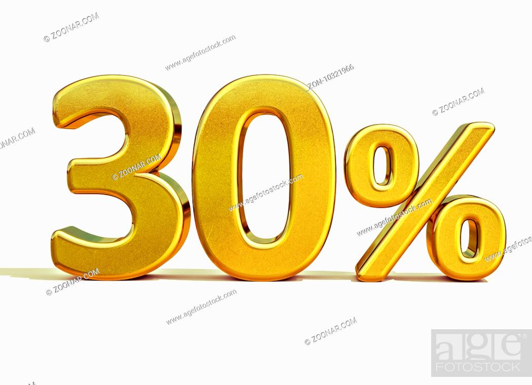 Stock Photo: Gold Sale 30%, Gold Percent Off Discount Sign, Sale Banner Template, Special Offer 30% Off Discount Tag, Thirty Percentages Up Sticker, Gold Sale Symbol.