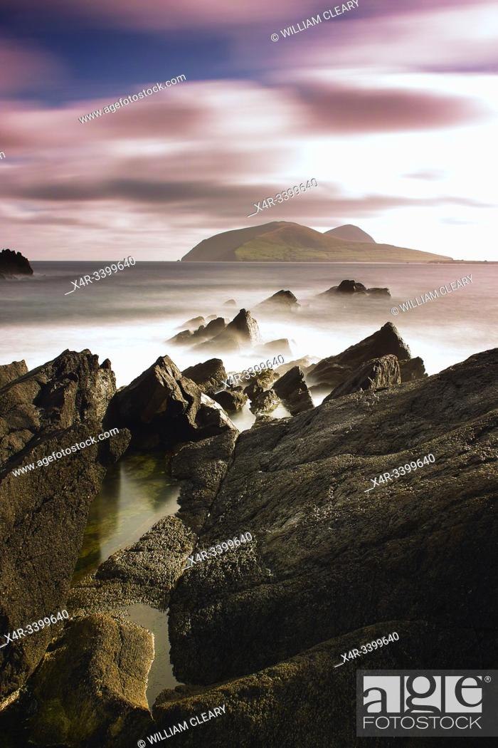 Stock Photo: View looking out to the Great Blasket Island, Dingle Peninsula, County Kerry, Ireland.