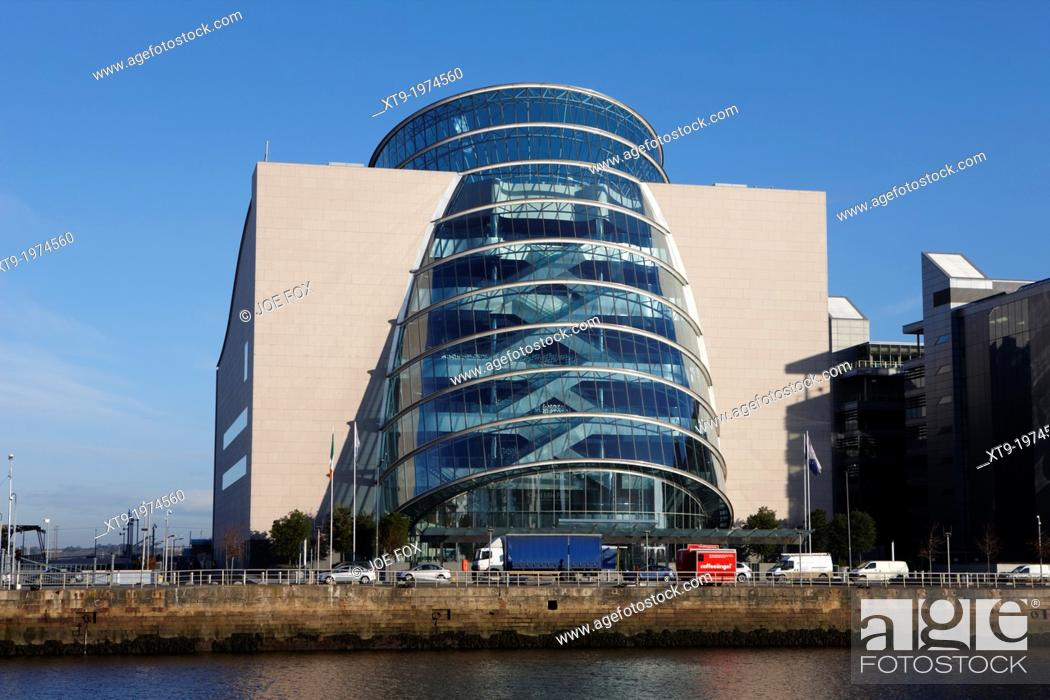 Stock Photo: view of the river liffey and the convention centre dublin republic of ireland.