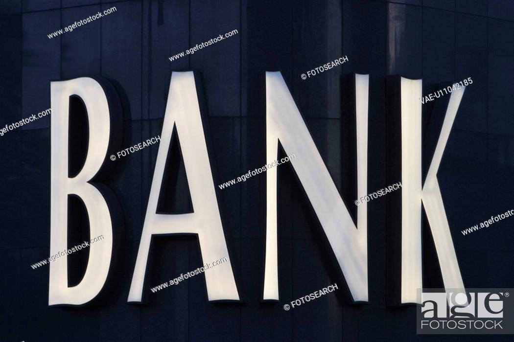 Stock Photo: Close-Up, Bank, Business, Black, Bank Sign, Alphabetic.