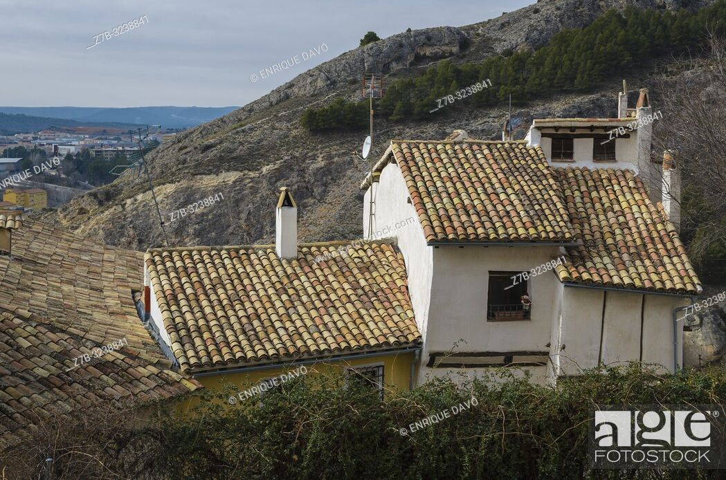 Stock Photo: View of a landscape from Cuenca old town.