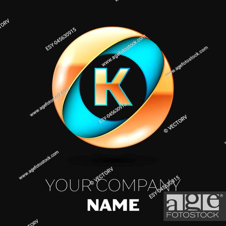 Stock Vector: Realistic Golden Letter K logo symbol in the blue-golden colorful circle shape on black background. Vector template for your design.