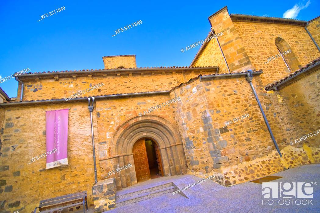 Stock Photo: Church of La Virgen de la Peña, 12th Romanesque-Gothic Style, Agreda, Soria, Castilla y León, Spain, Europe.