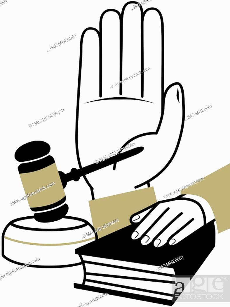 Stock Photo: A montage illustration of a hand taking an oath, a hand on a bible, and a judges gavel.