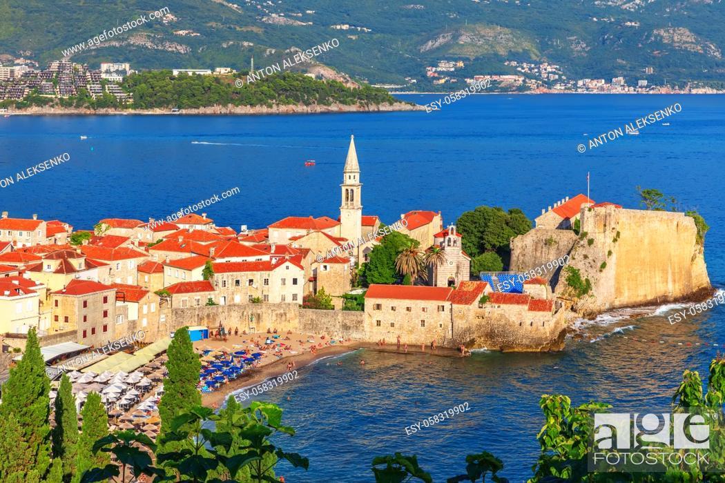 Imagen: Old Town of Budva, aerial view, Montenegro.