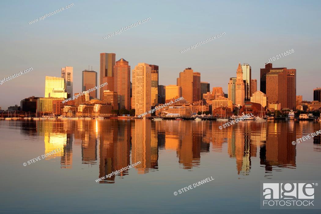 Stock Photo: Sunrise, Boston harbor, from East Boston piers, Boston, Massachusetts, USA.