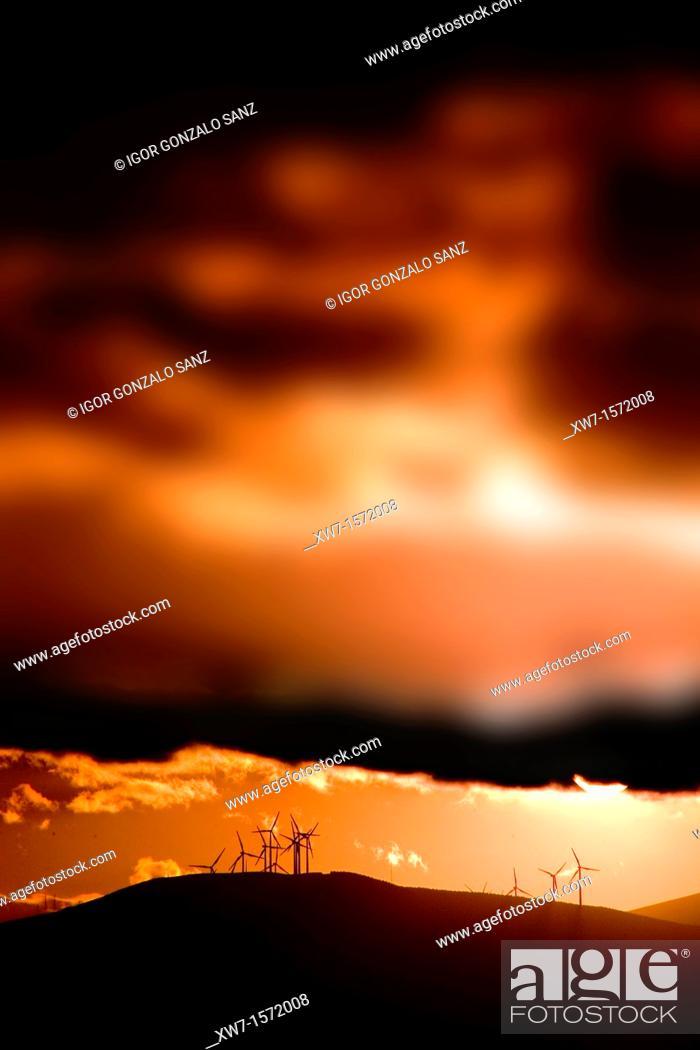Stock Photo: Wind energy at the sunset in León Spain. Village of El Ganso León. Camino de Santiago. Pilgrimage way.