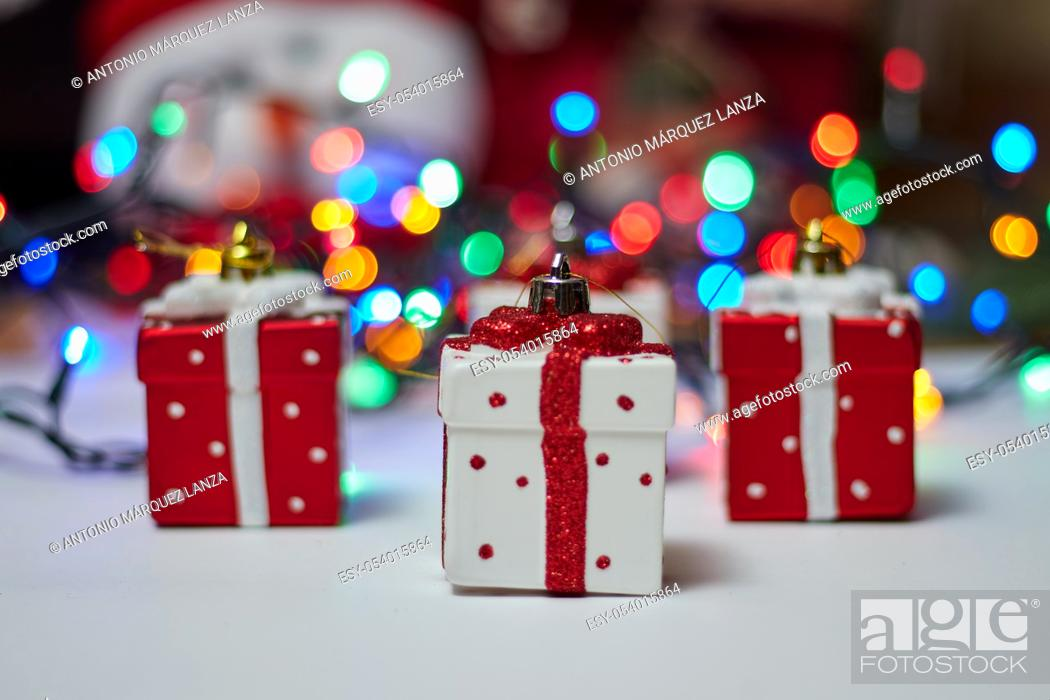 Stock Photo: Christmas background white lights and xmas ornaments.