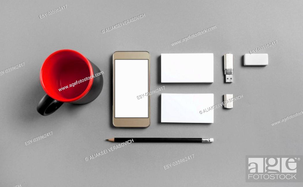 Stock Photo: Blank stationery and gadgets template for placing your design. Mockup for branding identity. Top view.