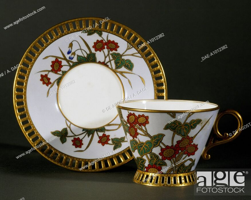 Stock Photo: Cup and saucer with floral decorations, ca 1850, porcelain, Parisian manufacture. France, 19th century.  Florence, Museo Stibbert (Art Museum).