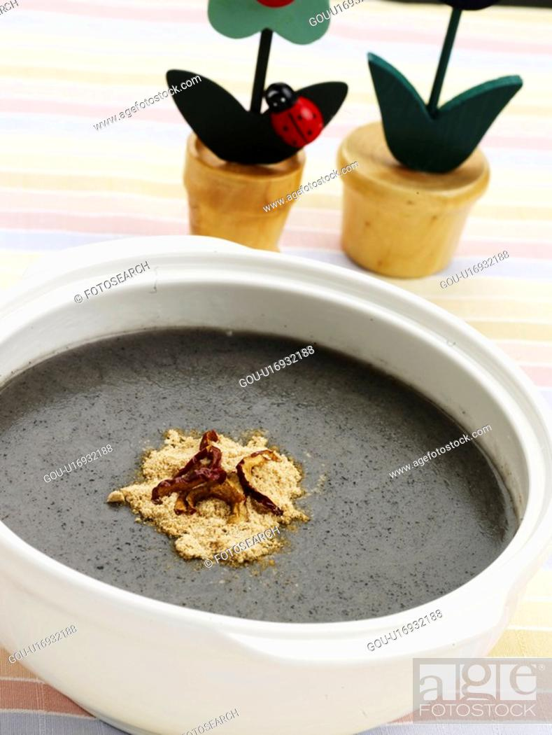 Stock Photo: black sesame gruel, cuisine, gruel, korean cuisine, korean food, vase, food.