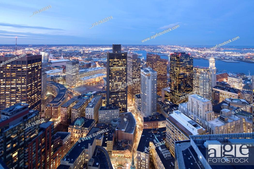 Stock Photo: Downtown financial district skyline dusk from Millenium Place, Boston, MA (Customs House right, Zakim Bridge left), USA.