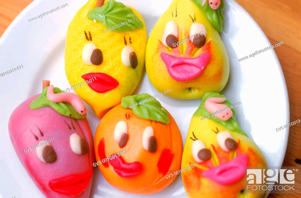Stock Photo: Marzipan in different shapes and colors.