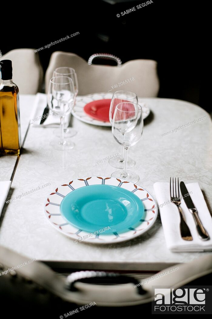 Stock Photo: Table. Le Comestible. French restaurant in Bordeaux. Bordeaux. Gironde. Aquitaine. France. Europe.