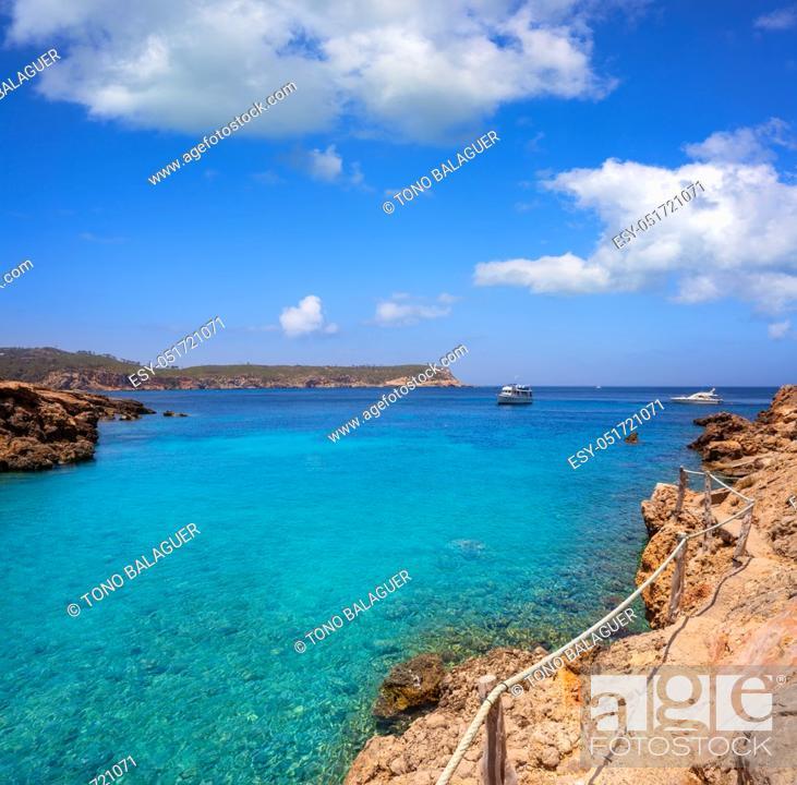 Stock Photo: Cala Xuclar beach of Ibiza in Sant Joan of Balearic Islands.
