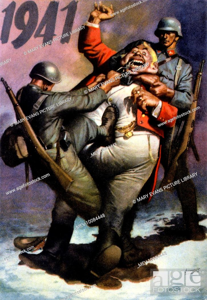 Stock Photo: Together, the Italian and German soldiers draw John Bull's teeth.