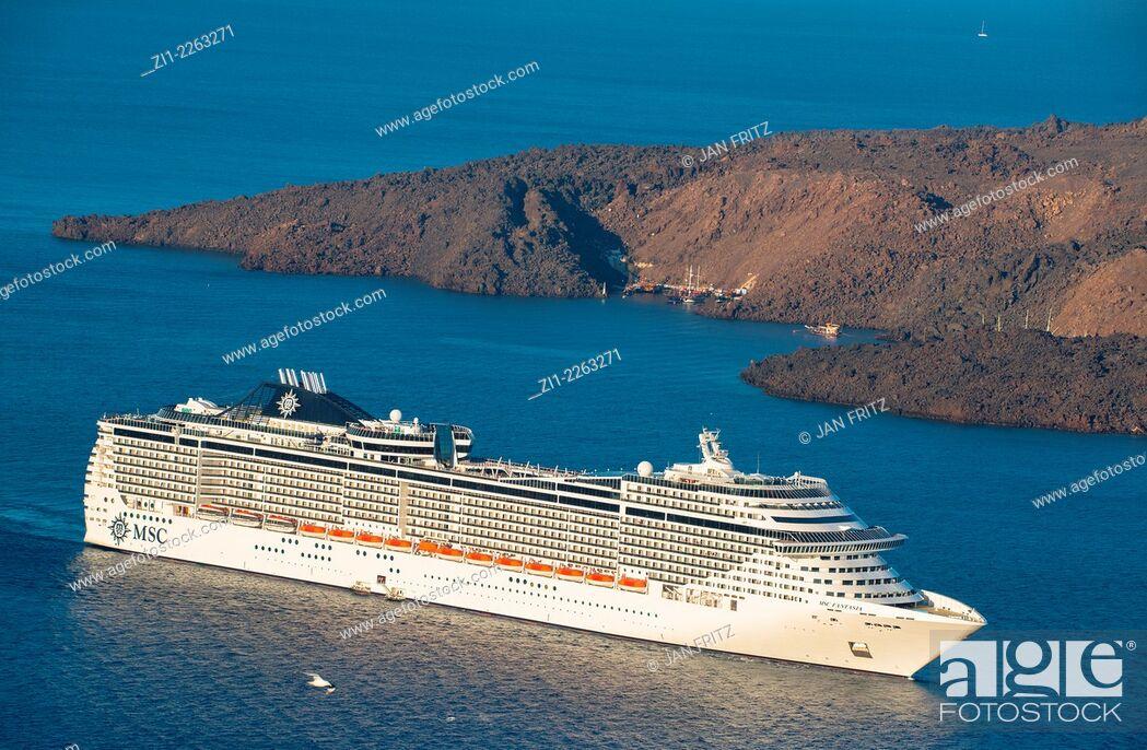Stock Photo: passenger ship seen from Santorini island in Greece.